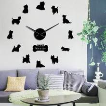 Западно-хайлендский терьер Westie собака порода длинные часы ручной 3D DIY настенные часы Щенок Животное самоклеющиеся большие акриловые часы