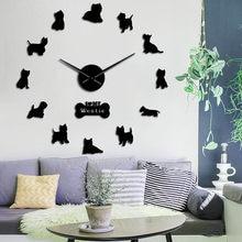 West highland terrier westie cão raça 3d grande relógio de parede diy filhote cachorro animal auto adesivo espelho efeito acrílico relógio tempo
