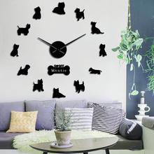 West Highland Terrier Westie rasy psów długi zegar ręcznie 3D zegar ścienny diy Puppy zwierząt samoprzylepne duży zegar akrylowy zegarek tanie tanio The Geeky Days Z tworzywa sztucznego Salon Streszczenie Igła Antique style Zegary ścienne Pojedyncze twarzy Oddziela Geometryczne