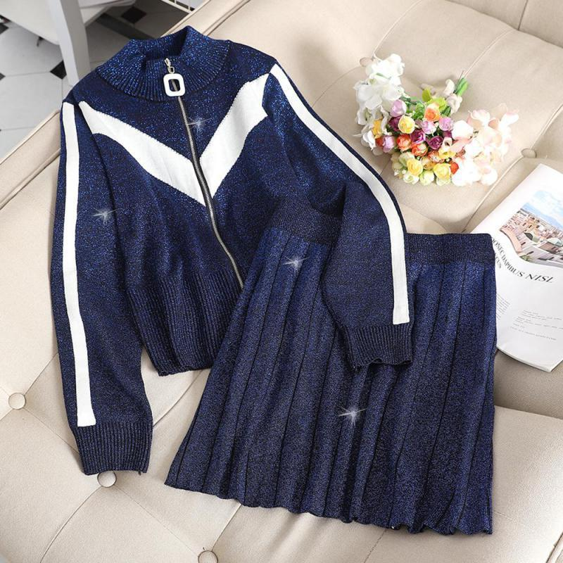 New 2019 Spring Autumn Women Two Piece Set Long Sleeve Zipper Sweater Top + Pleated Skirt Knitted Outfit Woman Knit Tracksuits