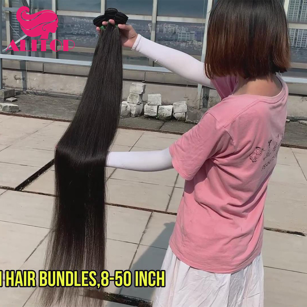 ALITOP 30 Inch Straight <font><b>Hair</b></font> Bundles Long Length Indian Raw <font><b>Hair</b></font> Weave Bundles 100% Human Virgin <font><b>Hair</b></font> Extentions Natural Color image
