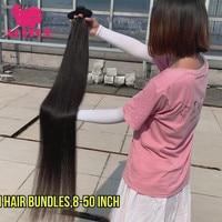 ALITOP 30 Inch Straight Hair Bundles Long Length Indian Raw Hair Weave Bundles 100% Human Virgin Hair Extentions Natural Color
