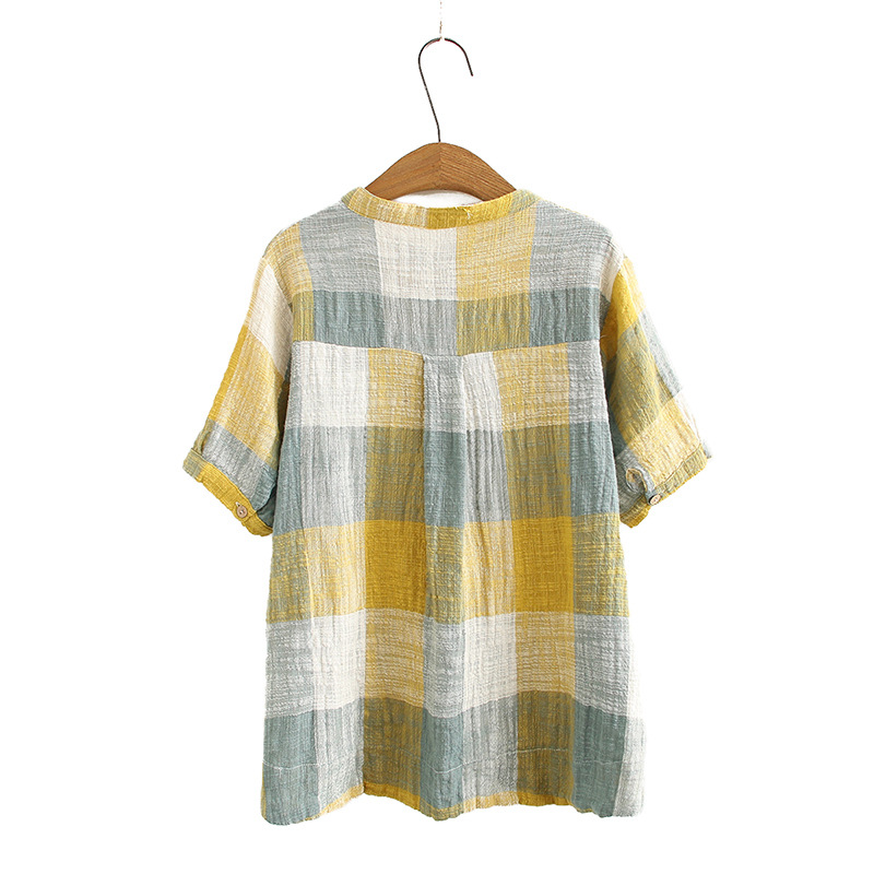 Short Sleeve Plaid Shirts Women Casual Blouse Shirt Loose Summer Blouses KKFY4646 Women Women's Blouses Women's Clothings cb5feb1b7314637725a2e7: black|Blue|YELLOW