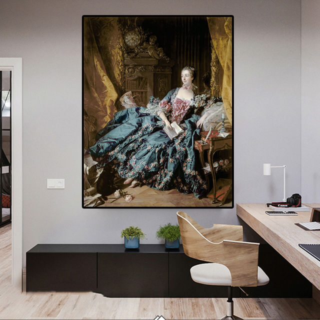 Portrait of Madame de Pompadour by Francois Boucher Classical Painting 2