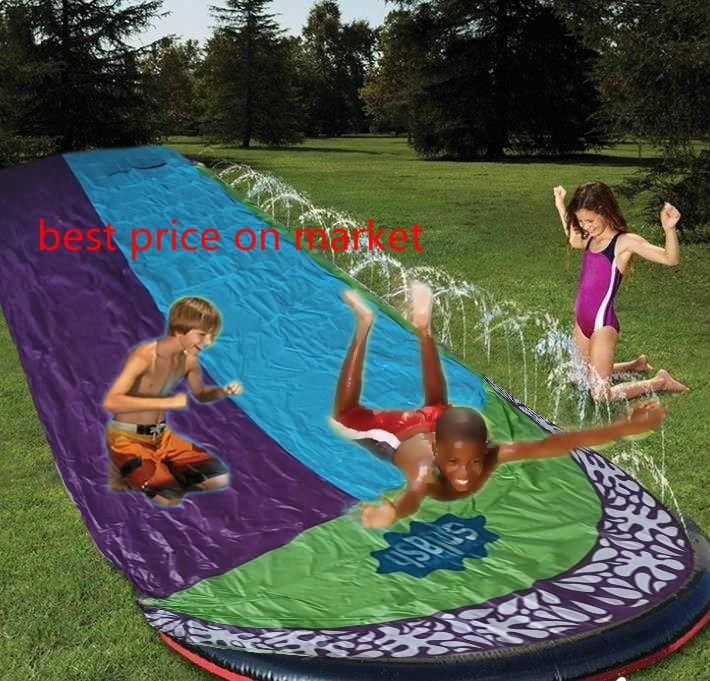 2020 New Inflatable Water Slide Double Racer Pool Kids Summer Park Backyard Play Fun Outdoor Splash Slip Slide Wave Rider
