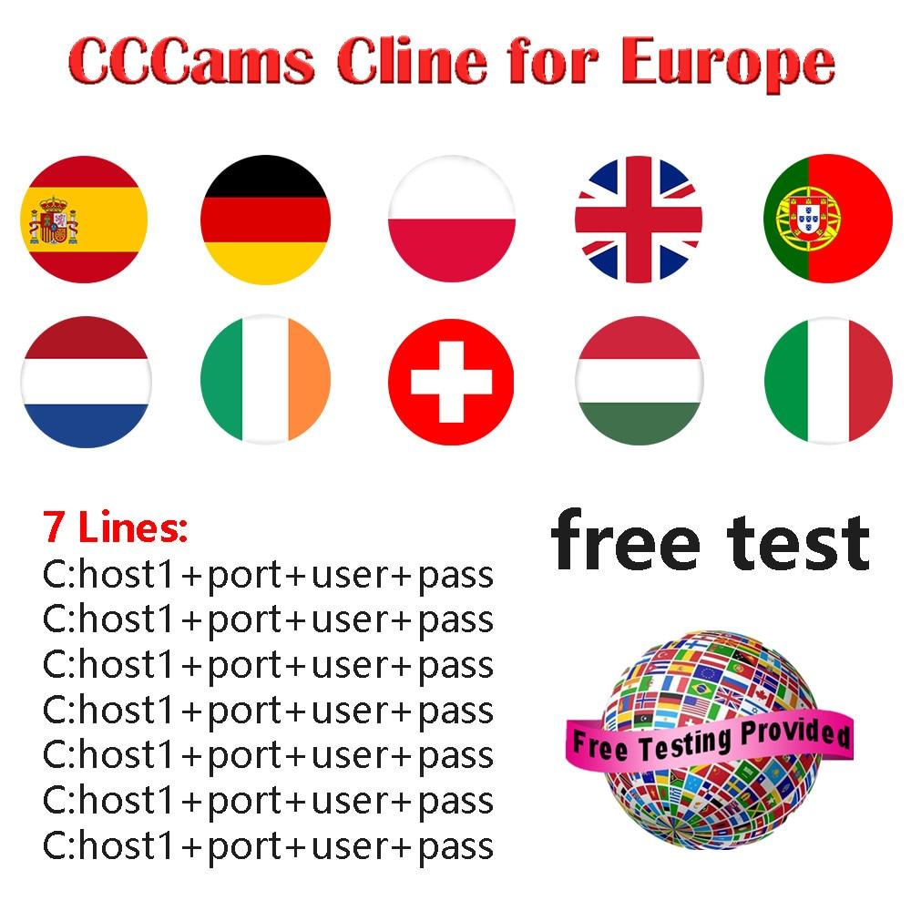 CCCAM Europe Cline 7 Lines For Spain Uk  Germany Netherland Polsat For Satellte Receiver Decoder Ziggo