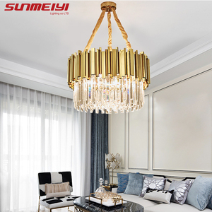 Image 2 - Luxury LED Crystal Chandeliers Lighting For Kitchen Living room Loft Hanging Chain Nordic Gold Chandelier Bedroom Lamp люстры