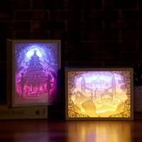 Lampada da notte da tavolo decorativa da regalo con cornice per sculture in carta 3D a luce notturna professionale