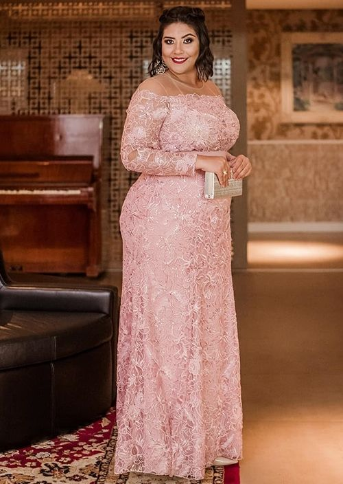 Elegant Long Sleeves Lace Mother Of The Bride Pink Plus Size Wedding Guest Dress Mothers Groom Kurti Vestido De Madrinha Farsali
