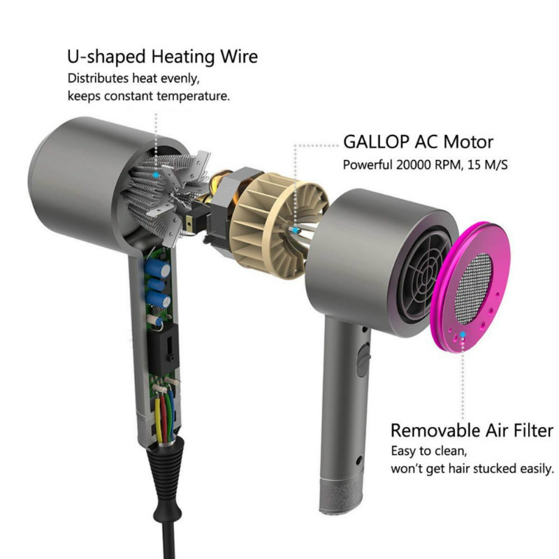 bocais & 1 difuso hamer ventilador elektrische haar droger