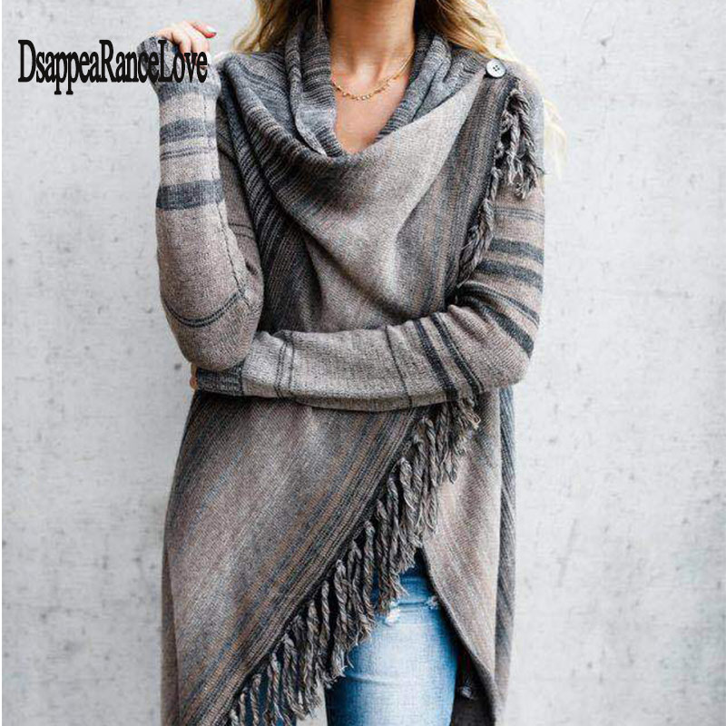 2020 New Hot Sale Women's Spring Autumn Women's Knitted Long Irregular Sweater Women Casual Tassel Cardigan Shawl