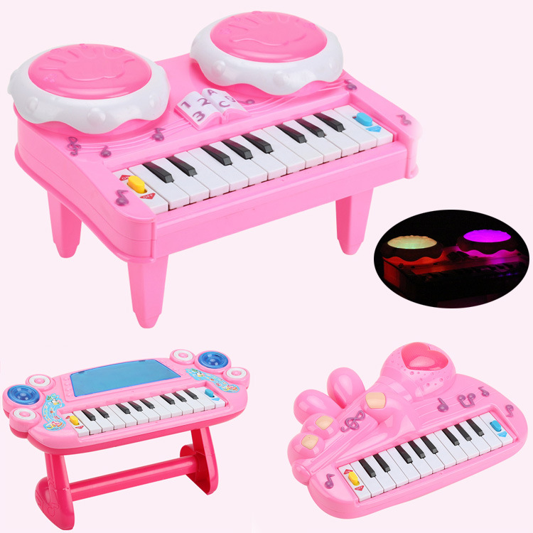 Children Mini Electronic Organ Toy 3D Colorful Light GIRL'S Piano Children Early Childhood Educational Piano Music