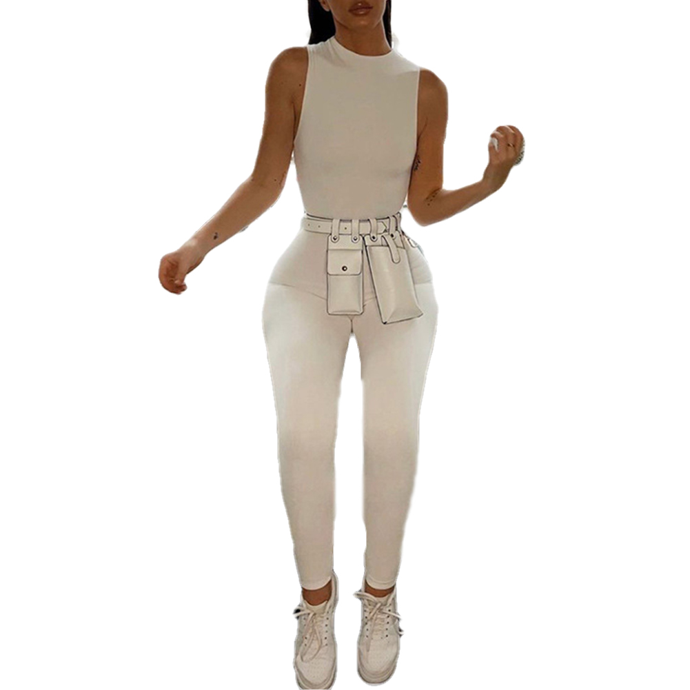 Female Casual Slim Playsuit New Solid Color Long Pants Summer Sleeveless Trousers Bodysuit Women Bodycon Jumpsuit Femme Hot 2020