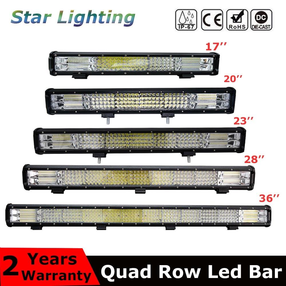 9D Quad Row LED Bar 4 / 7 / 12 / 20 / 22 / 28 / 36 Inch Offroad LED Light Bar For Boat Car Tractor Truck 4x4 SUV ATV 12V 24V