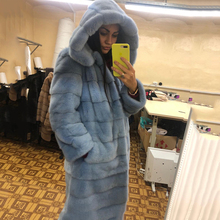 TOPFUR Natural Fur Coat Women Luxury Mink Warm Long Jacket Sky Blue Color Fashion Hood Winter Hooded