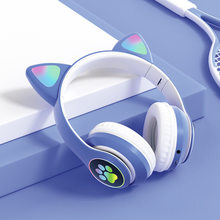 Wireless bluetooth earphones headset, cat's claw heavy bass luminous colorful, gaming, battery displaycallvoice control, music!