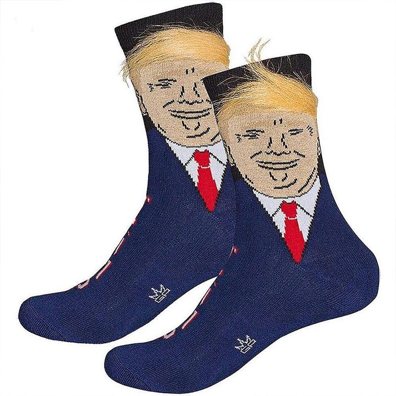 Socks Men Funny Trump Meias Com 3D Falso Cabelo Men's Funny USA President Donald Trump Obama Socks Men Funny Gift