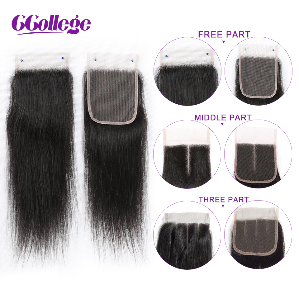 CCollege Straight Human Hair 3 Bundles With Closure Brazilian Hair Weave Bundles With Lace Closure NonRemy Hair Extension