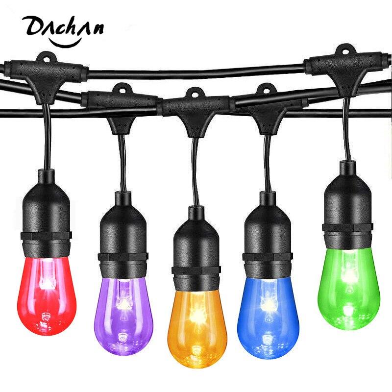 S14 наружный струнный светильник светодиодный RGBW, цветные меняющиеся водонепроницаемые устойчивые лампочки с пультом дистанционного управ...
