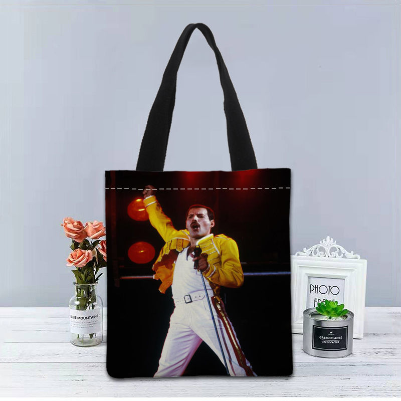 Image 5 - New Custom Freddie Mercury printed Handbag canvas tote bags shopping travel Casual Useful Shoulder Bag women bagTop-Handle Bags   -