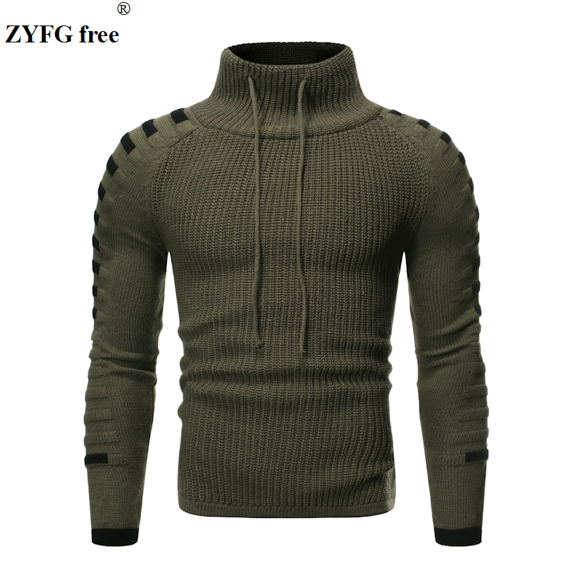 EU Size Men Winter Fashion Casual Sweater Mens Keep Warm Knitwear Sweater Turtleneck Solid Color Sweater Tops For Men Coat