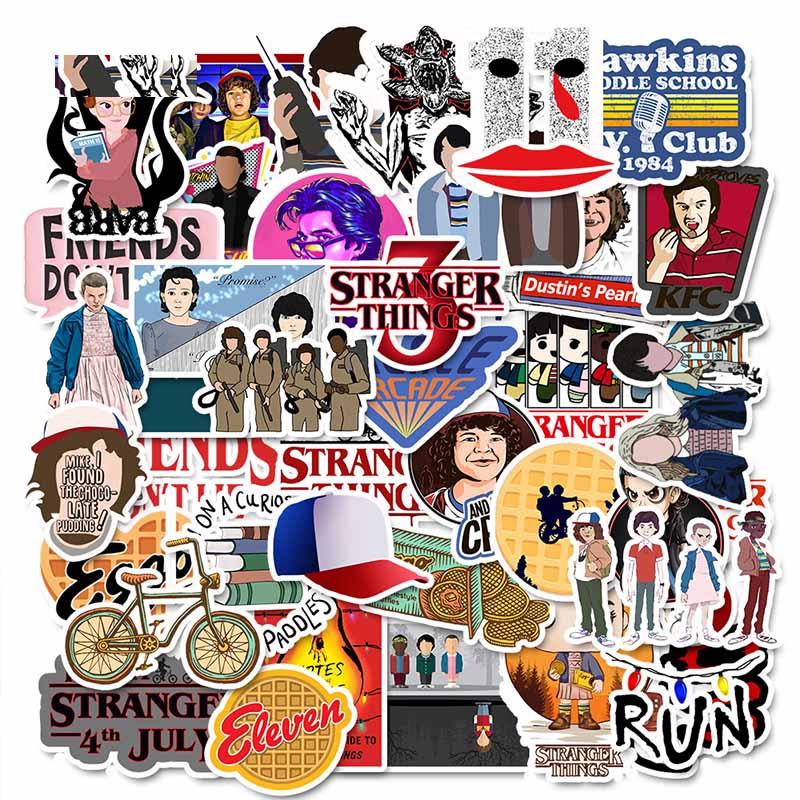 Fridges! 50 Stranger Things Stickers Pack For Children On The Laptop Suitcases