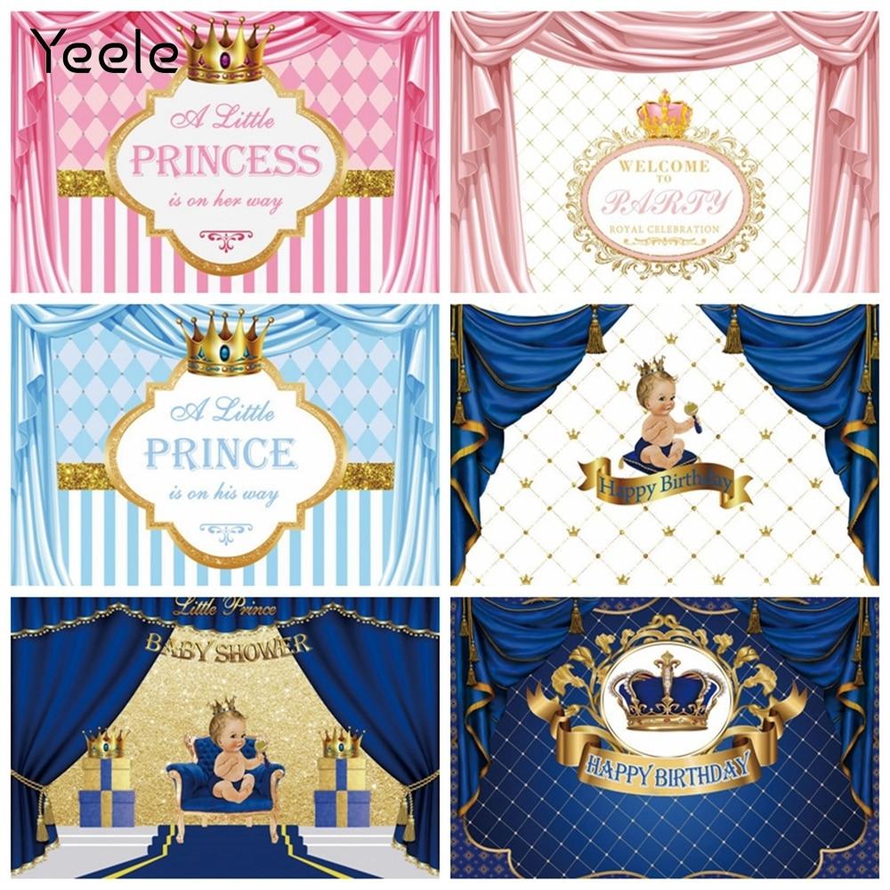 Yeele Розовый Синий Золотой Шторы новорожденных вечеринка по случаю рождения ребенка для мальчиков и девочек, платье принцессы на день рожден...