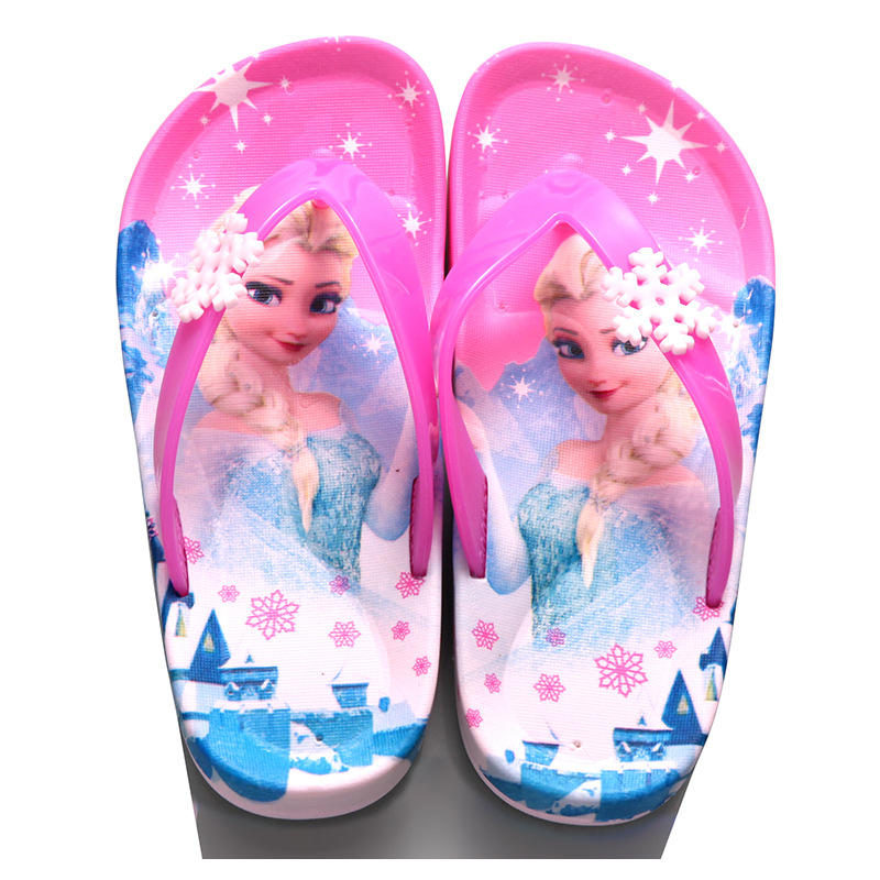 Children Girls Summer Princess Sandals Beach Slippers Cartoon Fashion Lovely Beading Non-slip Flip Flops Casual Shoes Size 24-39