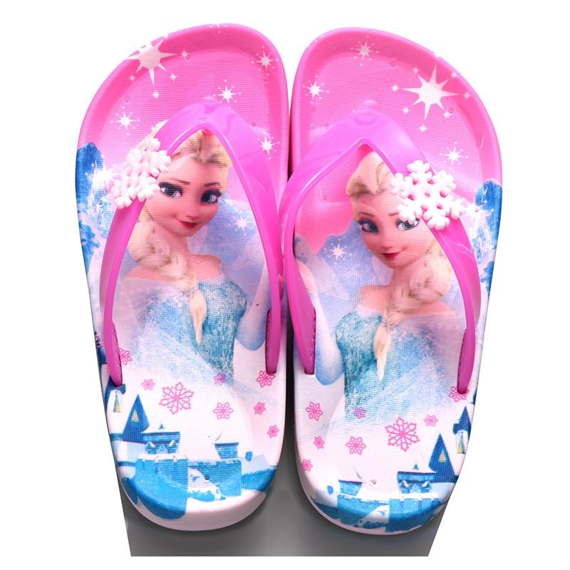 Children Girls Summer Princess Sandals Beach Slippers Cartoon Fashion Lovely Beading Non-slip Flip Flops Casual Shoes Size 24-39