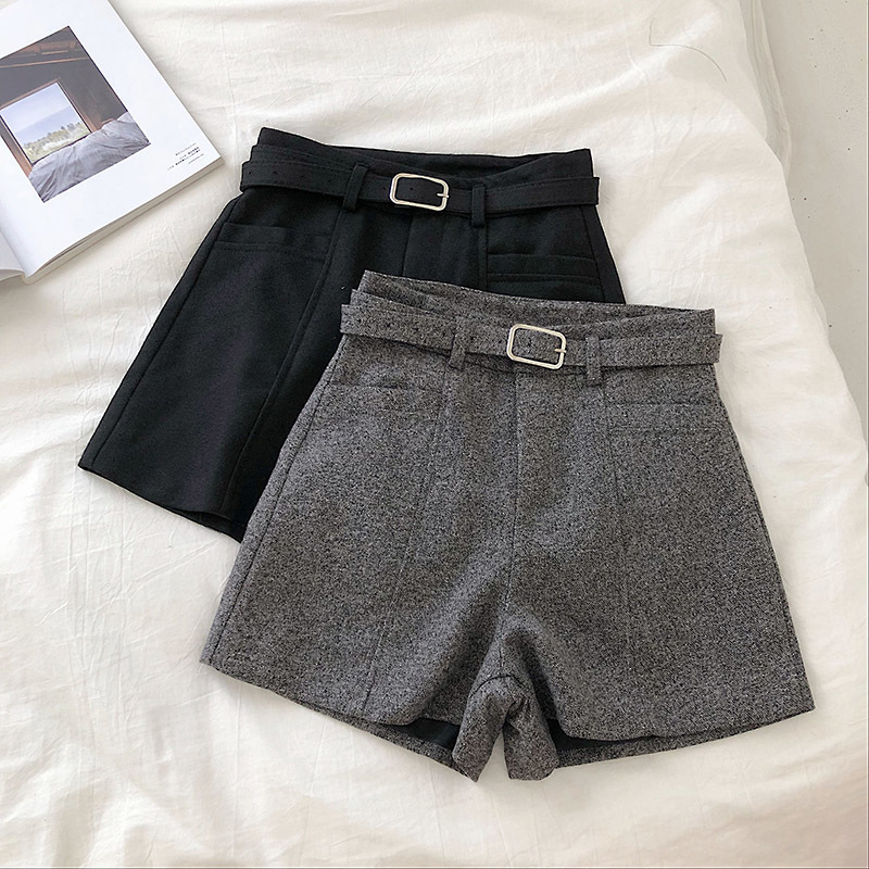 Winter Shorts Women Black High Waist Woolen Shorts Chic Pocket Design Thickening Booty Shorts With Belt