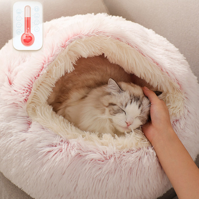 HOOPET New Style Pet Dog Cat Bed Round Plush Cat Warm Bed House Soft Long Plush Bed For Small Dogs For Cats Nest 2 In 1 Cat Bed- 4