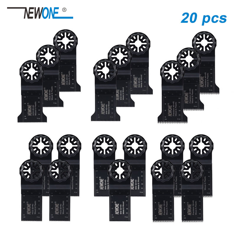 NEWONE E-cut Multi Tool Blade Set 20 Piece Oscillating Tool Blades Wood Metal (Starlock)