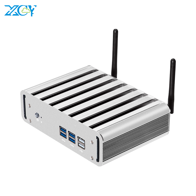 XCY X31 Mini PC Intel Core I3 4010U I5 4200U I7 4500U CPU Fanless Office Computer HTPC Windows 10 Linux HDMI VGA WiFi 6*USB