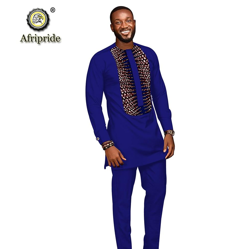 Trajes para hombres africanos 2019 ropa dashiki camisetas con impresión + Pantalones con bolsillos conjunto de 2 piezas blusa atuendo de Ankara AFRIPRIDE S1916005 - 3