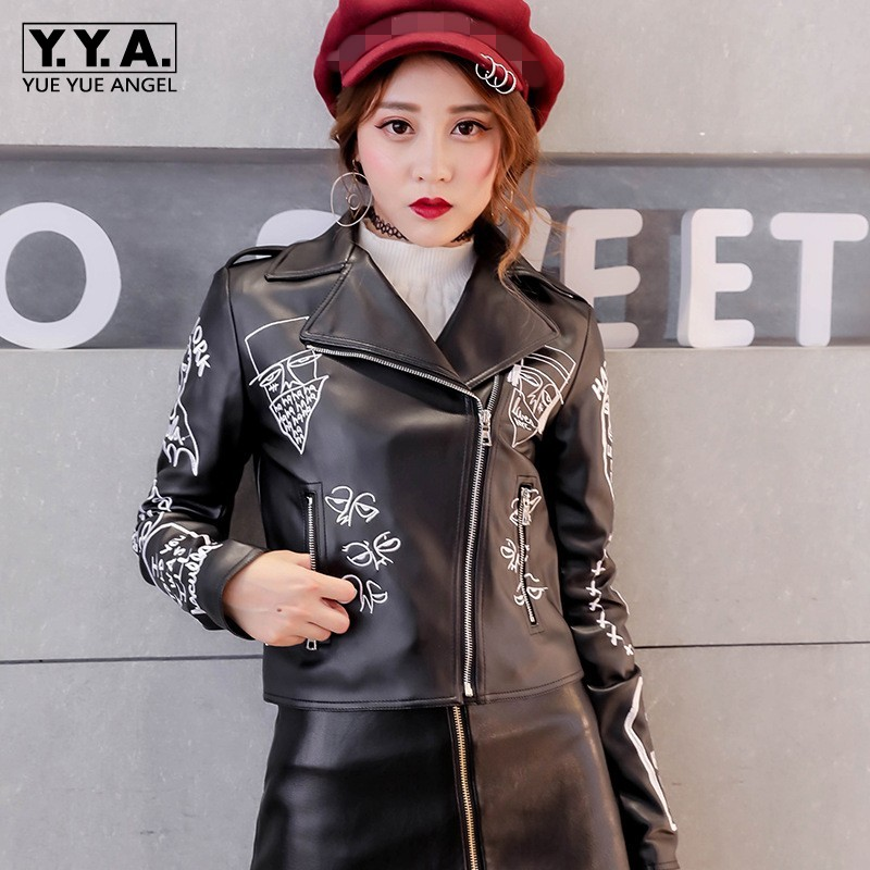 2019 New Pu   Leather   Embroidery Jacket Women Biker Slim Fit Short Coat Autumn Street Stand Collar Zipper Faux   Leather   Outerwear