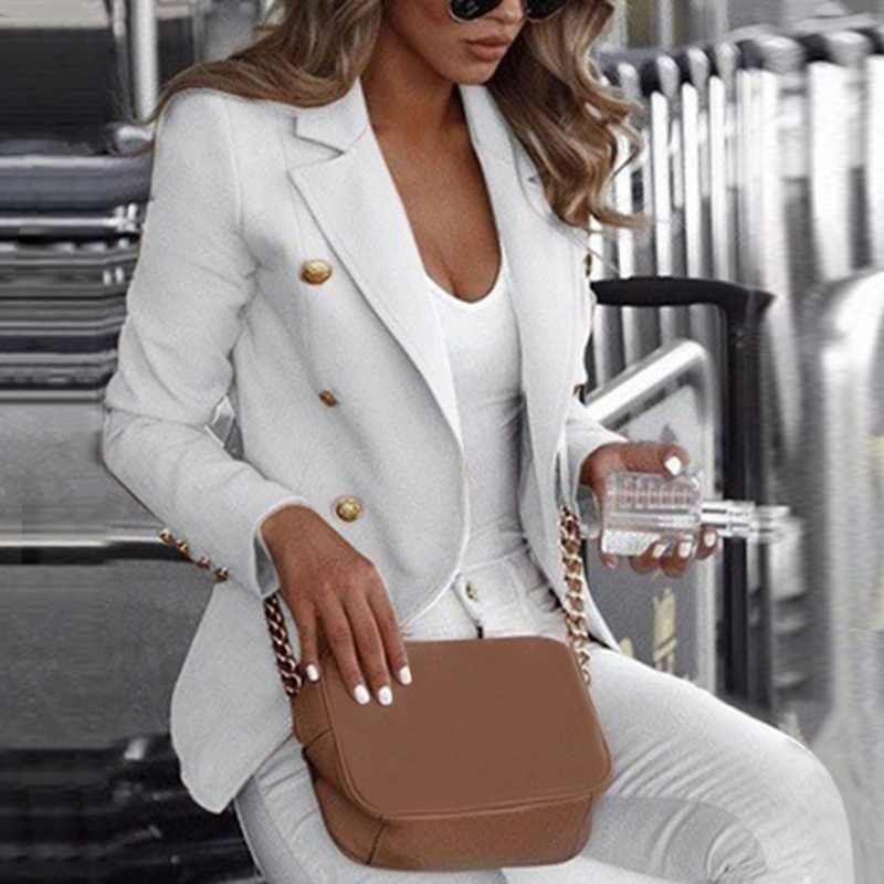 Fashion Slim Fit Double Breasted Vrouwen Lange Mouw Blazer Pak Knop Werk Office Lady Jas Herfst Plus Size Jas S-5XL