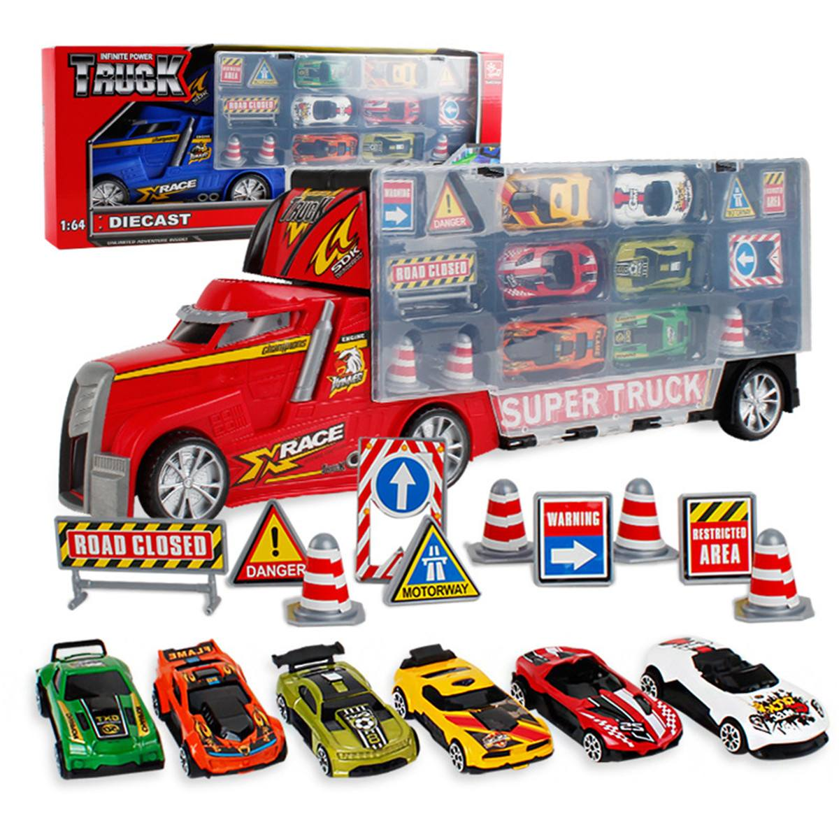 Diecast Metal Alloy Cars Metal Truck <font><b>Hauler</b></font> with 6 Small Cars Car toy kids toys for children boys toys car model bus image
