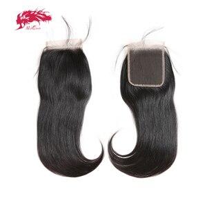Image 2 - Ali kraliçe saç 3/4 adet brezilyalı düz Remy insan saç demetleri ile kapatma 4x4 şeffaf dantel kapatma demetleri ile