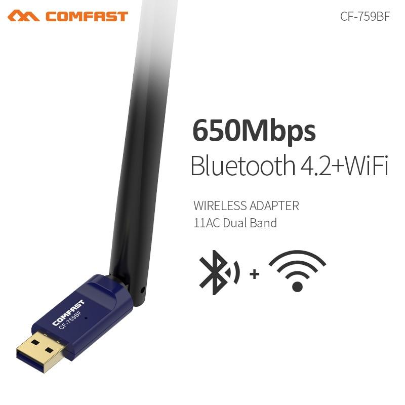 Comfast двухдиапазонная антенна 6dBi 2,4 и 5,8 ГГц, высокоскоростная сетевая карта 650 Мбит/с, Wi-Fi, Bluetooth 4,2, беспроводной адаптер, точка доступа
