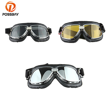 POSSBAY Yellow/Silver Lens Vintage Glasses for Harley Motorcycle Helmet Goggles Scooter Glasses Pilot Cruiser Steampunk motorcycle atv riding scooter driving flying protective frame clear lens portable vintage helmet goggles glasses for 2009 buell xb12r