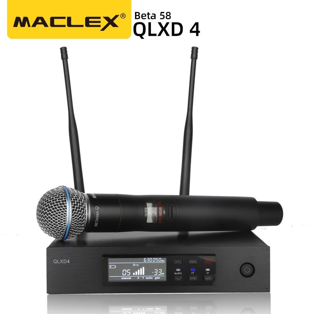 UHF QLXD4 Высокое качество UHF профессиональный двойной истинное Разнообразие беспроводной микрофон Система сцены выступления беспроводной ми...