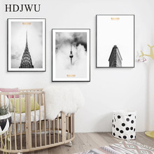 Simple Modern Canvas Painting Wall Picture Triad Decoration Building Printing Poster for Living Room  AJ00300