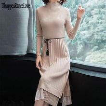 Vestido de camisola de moda feminina de malha suéteres vestidos de mulher coreana camisola vestidos plissados de fiesta vestido vintage