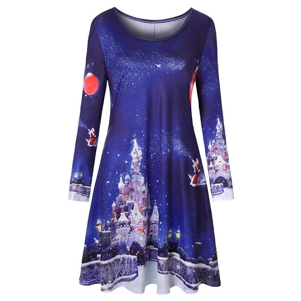 Хэллоуин Для женщин с длинным рукавом Винтаж Рождество Рождественский Рисунок круглая горловина вечерние платья с принтом по всему размеру, вечерние летние сексуальное платье Лидер продаж; # G1