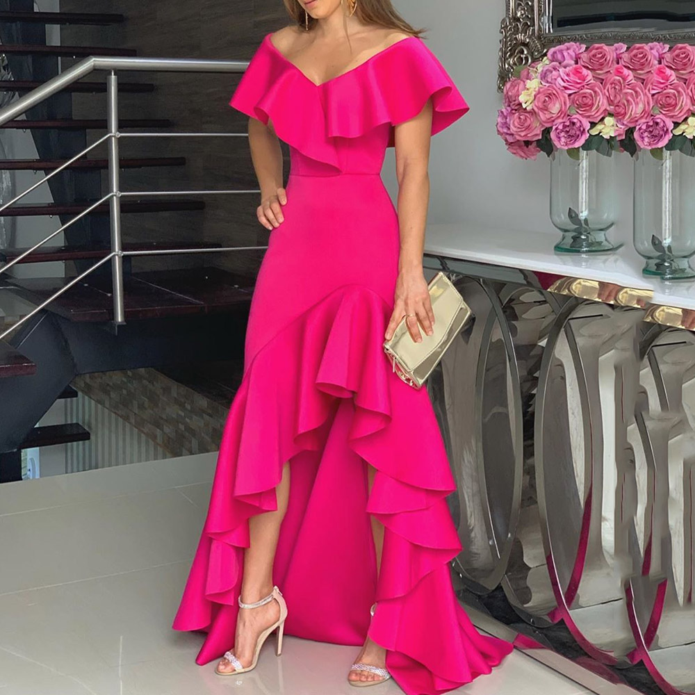 African Style Deep V-Neck Maxi Dress Women Elegant Rose Red Chic Formal Ruffle Irregular Long Dresses Sexy Evening Party Vestido