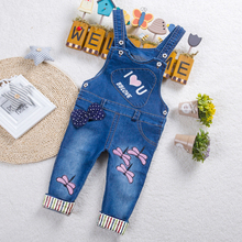 DIIMUU Toddler Baby Girls Jeans Trousers Clothing Overalls Long Pants Casual Printed Clothes Elastic Waist Kids Children недорого