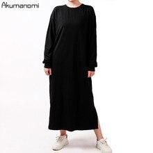 Outono primavera mulher preta fenda vestido de algodão mais tamanho 7xl 6xl 5xl 43xxl casual manga longa maxi camisa vestidos robe femme 2020