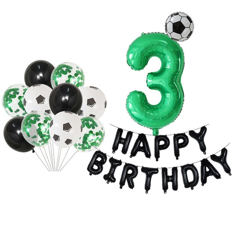 25 pçs futebol futebol tema festa redonda balões preto branco balão de hélio esportes atender menino festa de aniversário decoração suprimentos