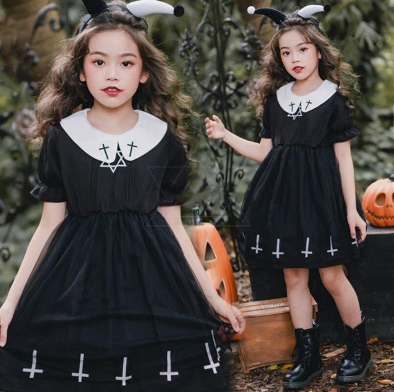 Gothic palace sweet princess summer lolita children dress Halloween demon high waist kids victorian dress kawaii girl cosplay