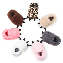 Fashion Winter Baby Boots Boys Girls Shoes Plush Cute Monster Leopard Cotton Home Slippers Toddler Unisex Pattern Bottom